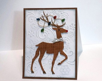 Rudolf Reindeer Holiday card, embossed Deer Christmas card, Christmas lights, blank card