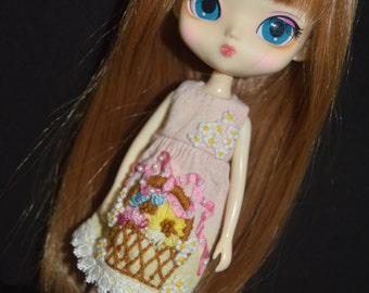 Dress hand dyed and embroidery handmade for Dal/Byul/Yeolume dolls