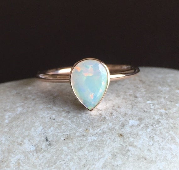 Solid Rose Gold Opal Ring Opal Engagement Ring Natural