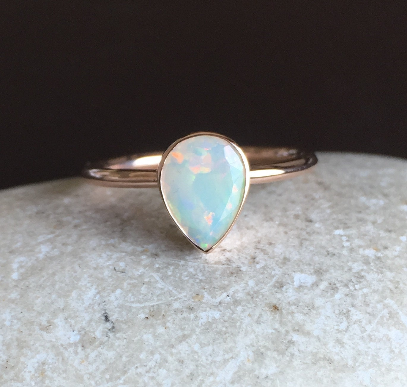 Opal Engagement Rings: Solid Rose Gold Opal Ring Opal Engagement Ring Natural