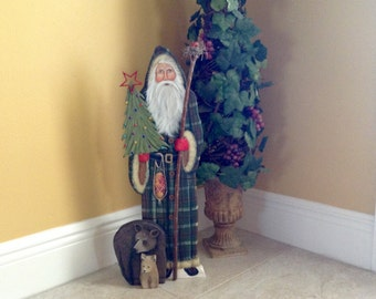 "Large 22"" Hand Made Old World Santa Bellsnickle 3-D, Bears, Walking Stick, Birdnest, Hand Painted Christmas collectable signed 2016"