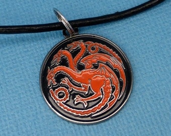 Game of Thrones Inspired - House Targaryen - Your Choice of a Keychain or Necklace - READY to SHIP