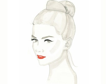 Red Hot Lips, print from original watercolor and mixed media fashion illustration by Dena Cooper