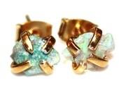 Tiny Opal Earrings Raw Opal Stud Earrings Organic Earring Tumbled Opal Jewelry Natural Opal Welo Opal Prong Set Earrings Raw Gemstones