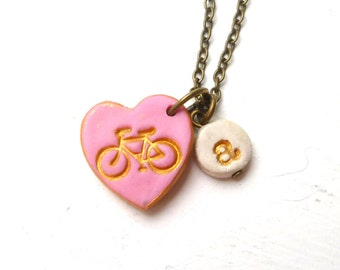 Bike heart Girl Necklace with Letter Charm, Bycicle Charm Necklace, Fun Girl Jewelry, 3,4,5,6,7,8,9,10 years old