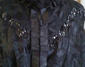 Antique Victorian Black Brocade Mantle (Capelet)