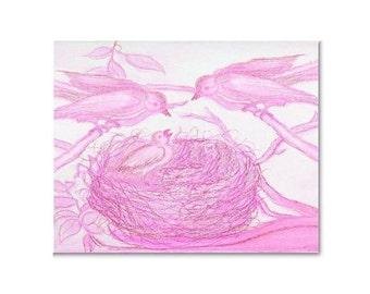 Pink Birds Nursery Decor, Baby Girl Nursery, Kids Wall Art, Nursery Decor, Nursery wall art, Pink, Birds, Kids Decor, Nursery Prints