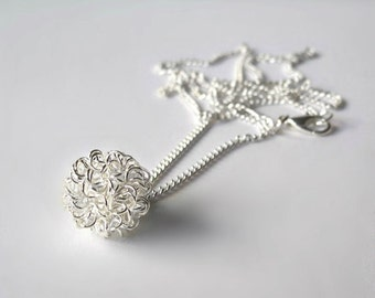 Silver Tangled Knot Wire Ball Necklace
