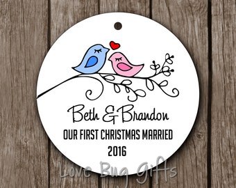 Personalized • First Christmas Married • Just Married • Love Birds • Christmas Ornament