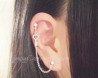 Heart Key Charm With Heart Stud Cartilage Chain Earring Double Lobe Helix Ear Cuff Jewelry
