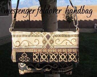 Messenger Handbag - Tapestry Gold Black Cream Sage Copper - Fold Over Style - Bag Purse - Upholstery Grade Messenger Style - Ladies Bag