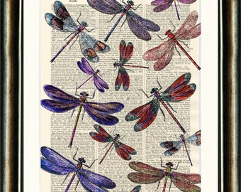 Dragonfly Dance - vintage image print  on a page from a late 1800s Dictionary Buy 3 get 1 FREE