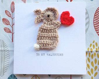 Valentine Bunny & Heart  Crochet Greeting Card