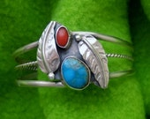 1950's Navajo Child's Silver and Turquoise Southwest Handcrafted Sterling Silver Cuff Bracelet