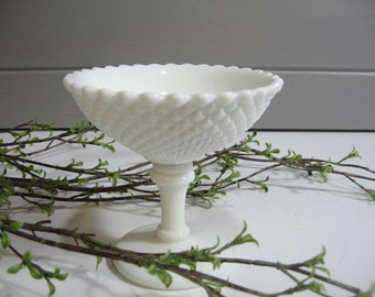 Westmoreland Milk Glass Pedestal Bowl, Compote, Candy Dish