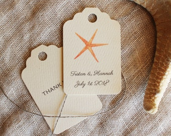 Favor Tags Starfish Beach Wedding Shower Party Favor Tags