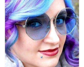 Vintage Octagon Sunglasses, Blue Lens Hippie Glasses, Janis Joplin Sunglasses, 1960s True Vintage Mod Sunglasses
