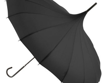 Pagoda Umbrella / Parasol. Pink, White, Ivory, Black, Red, Purple, Navy Blue, Grey. Wind resilient, strong umbrellas. Great for photo shoots
