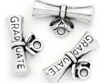 "10 PCS Antique Silver ""GRADUATE"" Diploma Charms"