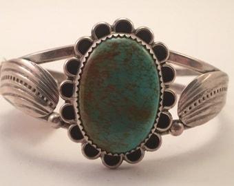 Vtg Navajo Albert & Jeanette Brown Sterling Kingman Turquoise Cuff