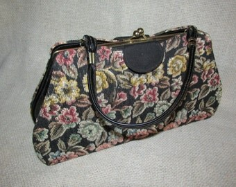 Vintage 3 in 1 Convertible Purse HANDBAG Black Tapestry Satin and Patent Leather Look Changeable Covers