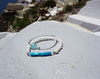 White jade and turquoise bracelet