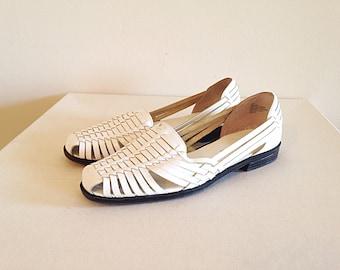 Vintage White Huaraches Hippie Boho Festival Shoes Southwest Sandals