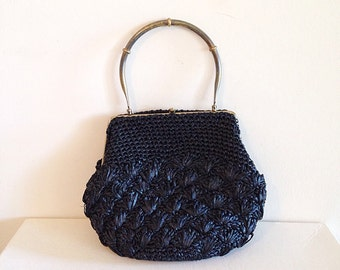 Vintage Black Straw Mid Century Pouch Purse Handbag