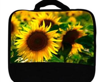Yellow Sunflower Flower Springtime Summertime Print Canvas Lunch Bag, 0003s65