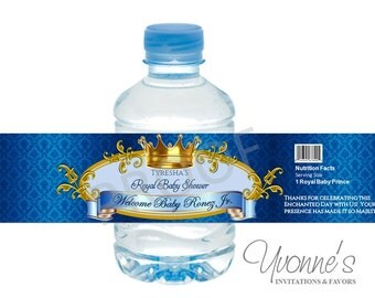 Royal Baby Boy Water Bottle Wrappers - for Baby Shower, First Birthday in Royal Blue and Gold