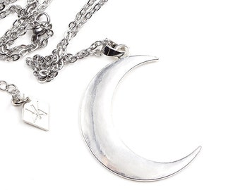 Super Moon   Large Crescent Moon Necklace   Lunar Pendant   Silver Jewelry   Occult   Witchy   Kadabra   SUPER MOON NECKLACE