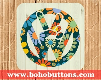 Volkswagen Peace Sign Square Vinyl Sticker, Hippie Sticker, VW Decal, Travel Decal Sticker, 1960s Bumper Sticker, Laptop Decal, Boho Buttons