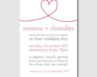 Red Black and White heart simple typography Wedding Invitation DIY PYO print your own