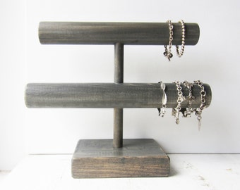 Large Double Bracelet Holder / Display / Organizer - Your Choice of Weathered Grey, Dark Brown or Distressed White - Retail Jewelry Display