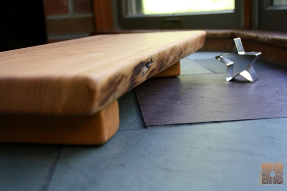 Live Edge Thick Black Cherry on raised stands- Cutting Board with Live Edge and Colorful grain- Personalized 5th Anniversary Gift  737