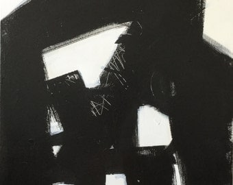 "24""x30""x2"" Abstract Black and White Painting"