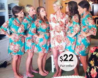 Set of 1,2,3,4,5,6,7,8 Robes, Ship from USA, Bridesmaid cotton Robe, Bridesmaid Gift, Getting Ready Kimono Robe, Regular and Plus Size Robes