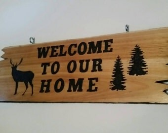 Deer Garden Sign, Welcome Sign, Welcome To Our Home, Carved Wood Sign, Garden Sign, Front Yard Sign, Door Hanging Sign