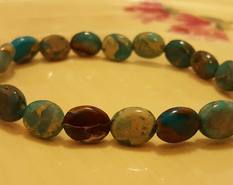 SET: Natural Imperial Jasper Stone Stretch Beaded Multi Colored Bracelet and Pierced Earring Set