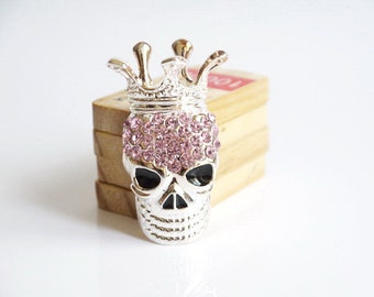 1PCS Fashion Pink Crystal Silver Skull-Head  Flatback Alloy jewelry Accessories materials supplies