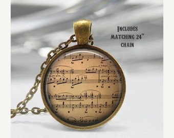 Vintage Sheet Music Necklace, Treble Clef, Musician, Composer Pendant, chain included X261