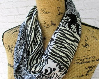 Cotton Infinity Scarf - Repurposed T Shirts - Upcycled Clothing - Zebra Print - Ladies Fashion - Made in Oregon - Circle Loop Neck Scarf