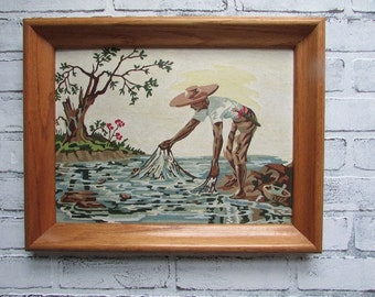 Vintage Paint by Number Fisherman In the Water Mid Century Decor