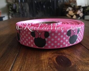 "Minnie Mouse ribbon 1"" 25mm/grossgrain Disney ribbon/minnie mouse pink hair bow/minnie's Bowtique/minnie mouse hot pink polka dot ribbon"