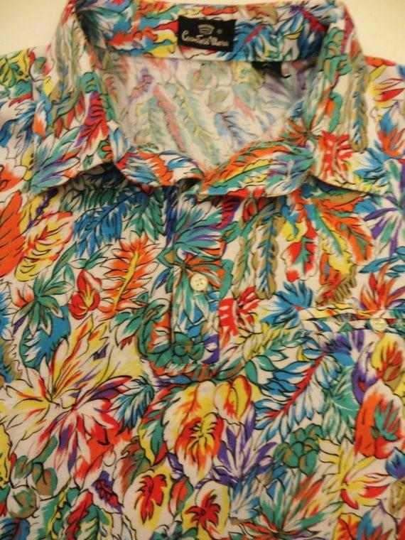 Vintage Polo Shirt Hawaiian Print Banded Bottom 80s