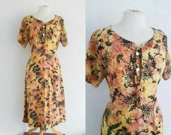 Vintage 90s Batik Floral Dress US 8 EU 40 UK 12 Festival Boho Hippy Grunge