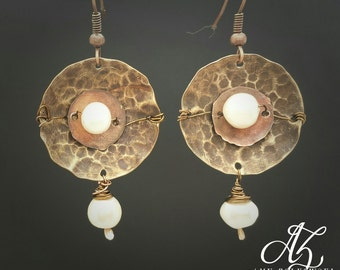 Handmade Brass and Copper Earrings With Fresh Water Pearls