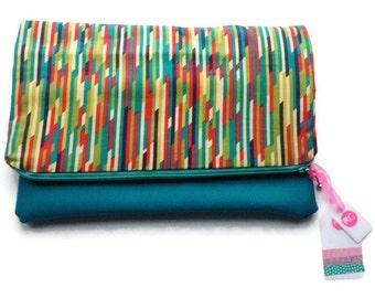 Clutch bag, foldover clutch bag, fold over clutch purse, funky geometric, colourful design, modern design, handmade gifts