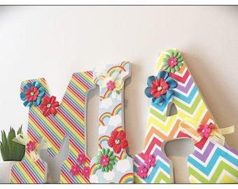 Rainbow nursery. Rainbow Bright. Polka Dots. Chevron. Wood Nursery Letters. Pink. Baby Girl. Hearts. Wood Letters. Nursery.