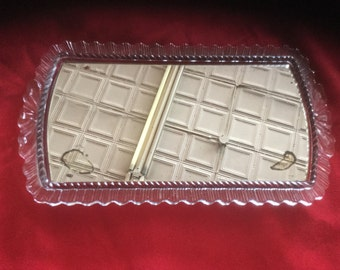 Vintage Glass Dresser Tray with Mirror
